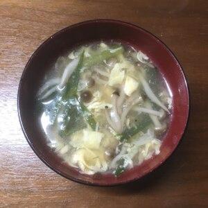 とろとろ美味しい☆しめじとニラの中華卵スープ