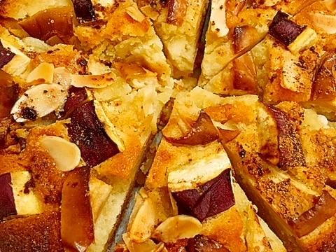 秋色♪さつまいもとリンゴのアーモンドタルト