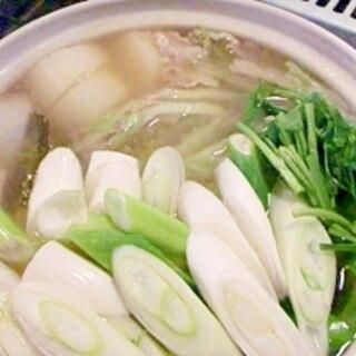 白菜とねぎと豚バラの白味噌鍋