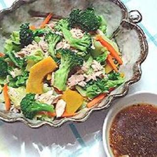春野菜の茹でサラダしょうがドレシングかけ