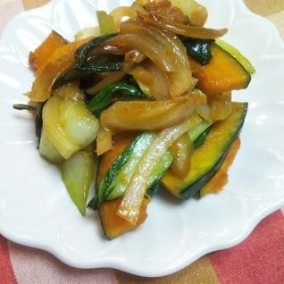 ササッと☆チンゲン菜・カボチャ・玉ねぎの炒め物