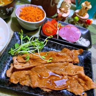 塩昆布煮汁でコクうま豚の生姜焼き