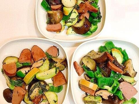 夏野菜とハーブローフの具沢山塩炒め