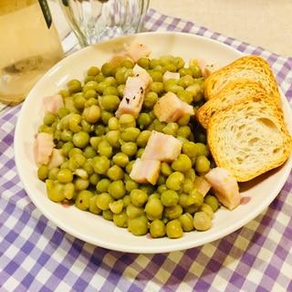 イタリア気分★グリーンピースとベーコンのソテー