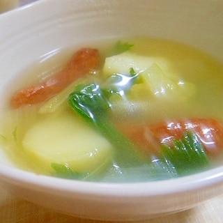 野菜とウインナーの鶏がらスープ