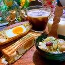 スモークチキンと卵の高菜キャベツサンド