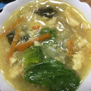 ホタテ缶で具沢山中華スープ