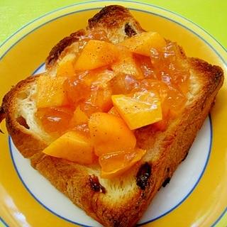 レーズンパンで♪柿とりんごジャムシナモンのトースト