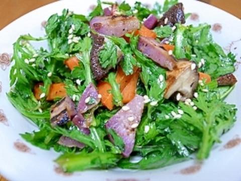 春菊と焼き野菜のサラダ