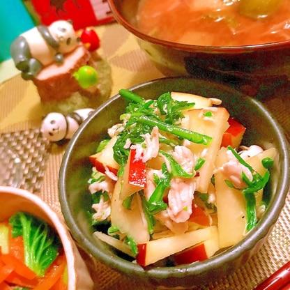 春菊と林檎と鶏ささ身のサラダ