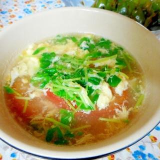 豆苗とトマトの卵スープ