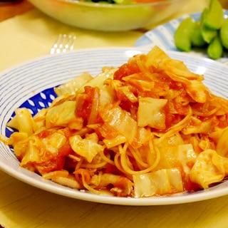豚バラ肉とキャベツのピリ辛★トマトパスタ