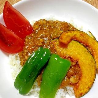 夏野菜で彩った大豆入りキーマカレー