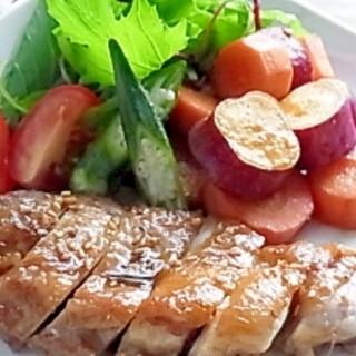 オーブンで鶏とさつま芋のはちみつ照り焼き