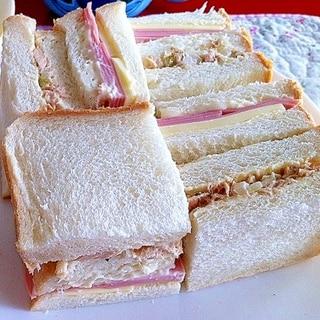 ハムチーズとツナのサンドイッチ
