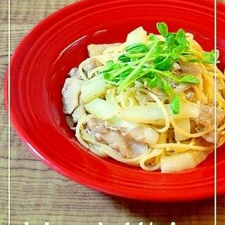豚バラ肉と白菜の和風パスタ