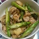 鶏肉とアスパラとエリンギと玉ねぎのマヨ炒め
