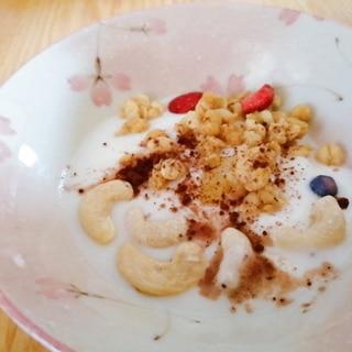 グラノーラとカシューナッツのココア風味ヨーグルト
