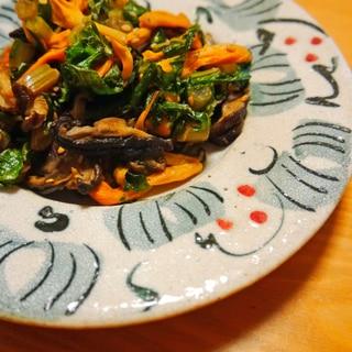 大根葉とゆりの花&椎茸の炒め物♪