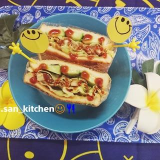 【サンドイッチ】唐揚げ リメイク  チキンサンド