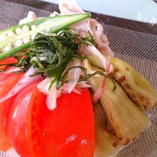 焼きなすと冷しゃぶトマトの薬味のっけ素麺