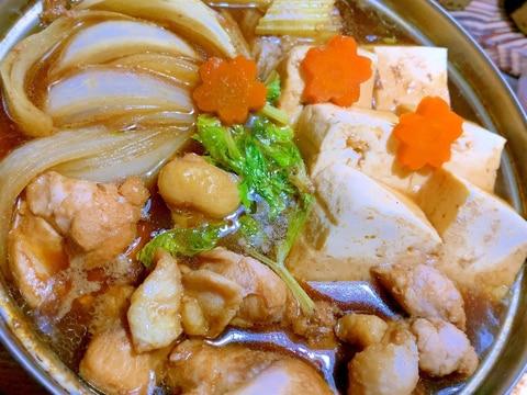 黒酢で煮込む鶏肉豆腐