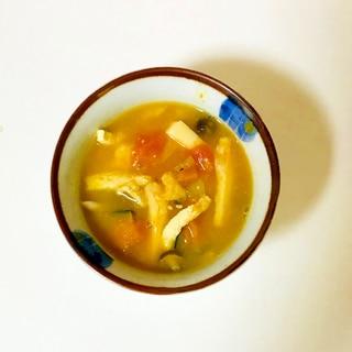 簡単南瓜の油揚げ味噌汁