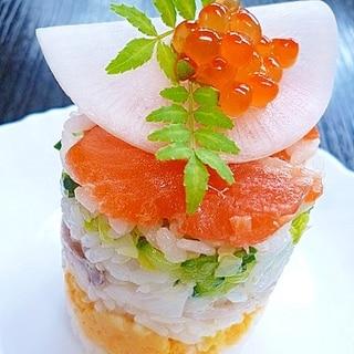 鮭親子と昆布〆鯛の8層ケーキ寿司