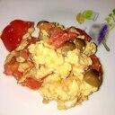 トマトとシメジのオムレツ