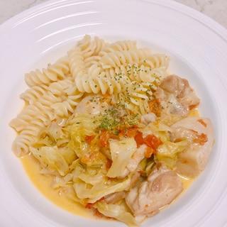 鶏肉とキャベツのトマトクリーム煮★生のトマトで♪