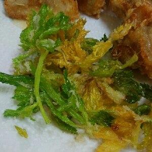揚げ立てシャリシャリが美味しい♪セロリの葉の天ぷら