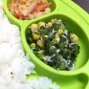 【離乳食 完了期】小松菜とコーンのしらす和え