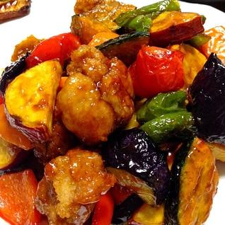 秋野菜の甘黒酢あんです☆あと引く優しい甘酢っぱさ♪