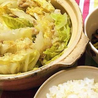 和風バター♪ 白菜と豚肉のミルフィーユ鍋