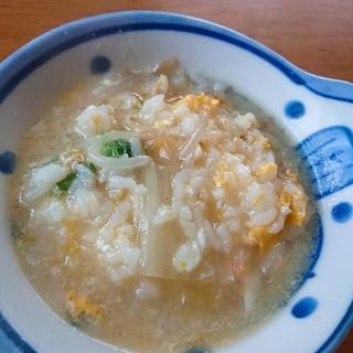 水炊きの残ったスープで塩雑炊