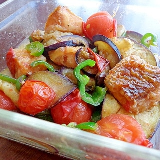 残り物お片付け♪鮭と茄子トマトの南蛮炒め煮