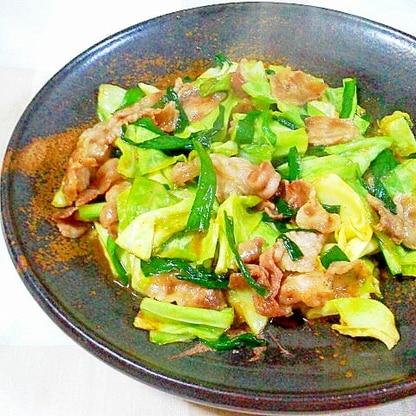キャベツと豚ニラ味噌タレ炒め(油不使用)