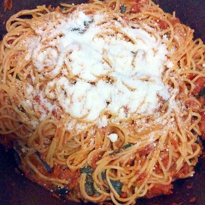 トマト水煮缶冷凍ほうれん草スパゲティ
