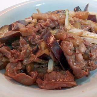 牛肉と茄子と白菜の焼肉のたれ炒め
