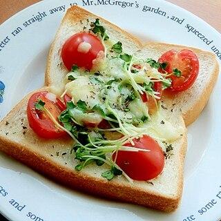 ミニトマト&カイワレ❤ヘルシーなピザ風トースト♪