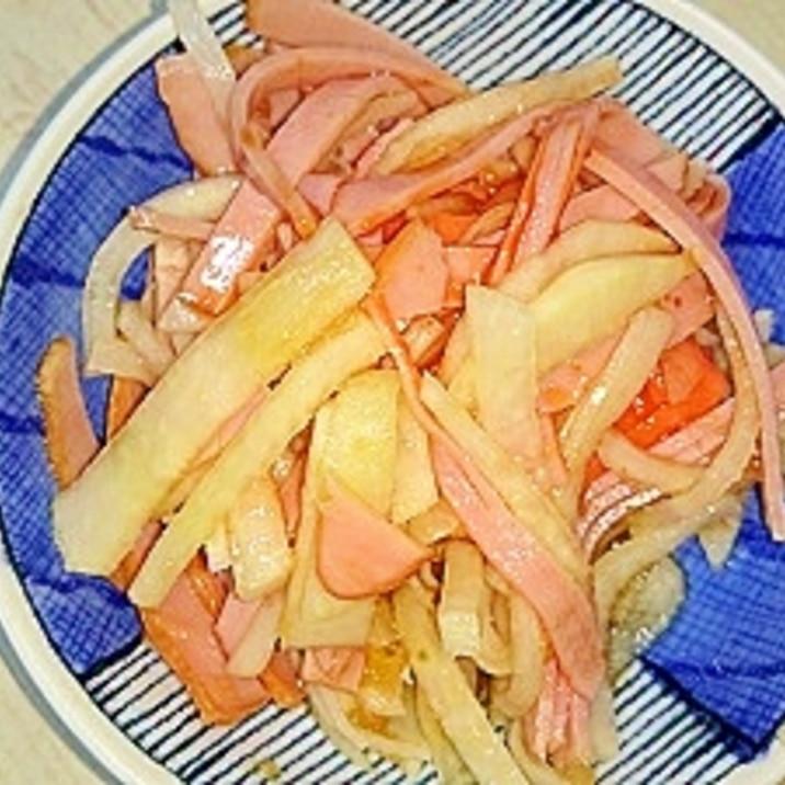 大根・ハム・カニカマの玉ねぎポン酢ケチャサラダ
