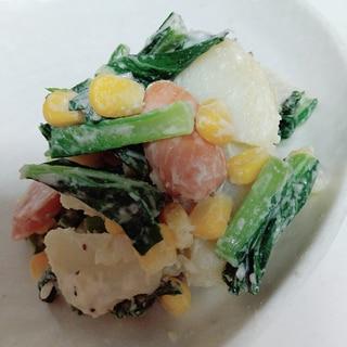 小松菜とウインナーのポテトサラダ