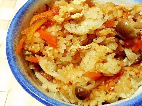 炊飯器で♪しめじと油揚げの炊きおこわ(もち米)