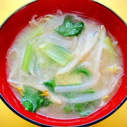 大根ともやし小松菜の味噌汁