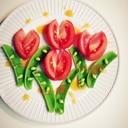 チューリップ咲くサラダ☆トマトとスナップえんどう