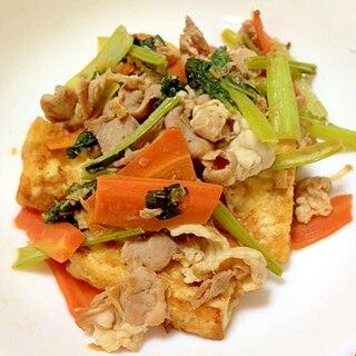 栄養と満腹感充分◎豆腐と厚揚げの炒め物