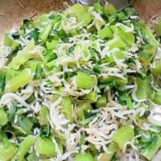 大根の葉茎とチリメンの塩炒り