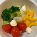ワインのおつまみ 温野菜やモツァレラのサラダ