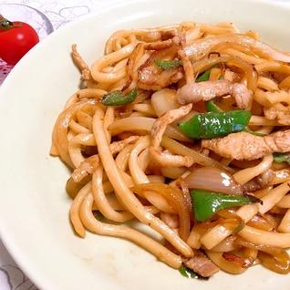 豚肉と野菜の焼きうどん♪麺つゆだけで簡単!美味しい