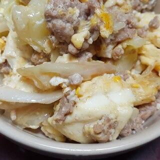 キャベツと豚挽き肉と豆腐のチャンプルー♪